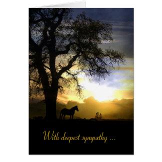 日没の悔やみや弔慰カードの馬 カード