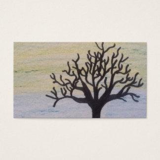 日没の木のシルエット 名刺