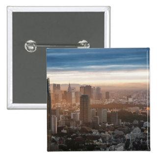 日没の東京スカイライン 5.1CM 正方形バッジ