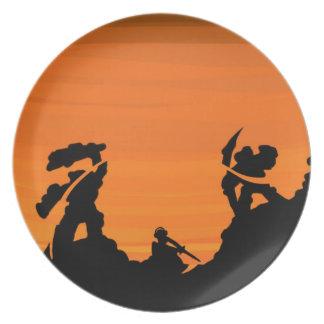 日没の武士 プレート