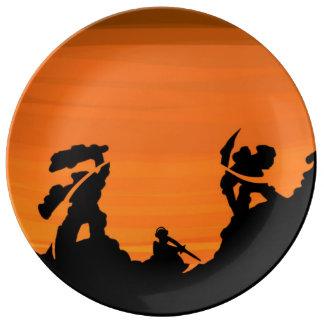 日没の武士 磁器プレート