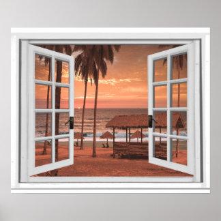 日没の海岸のビーチの海の偽造品の窓の眺め ポスター