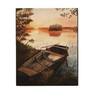 日没の湖 ウッドウォールアート