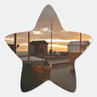 日没の漁船 星シール