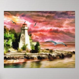 日没の灯台海の海岸、ペーパーポスター ポスター