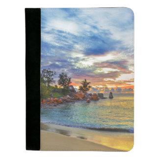 日没の熱帯ビーチのカフェ パッドフォリオ