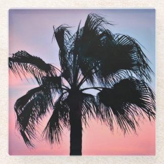 日没の熱帯ヤシの木 ガラスコースター