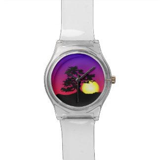 日没の盆栽のシルエットのNumberless腕時計 腕時計