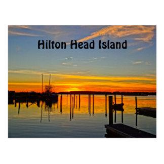 日没の着陸のスカルの入り江のボートハウスヒルトンヘッド ポストカード