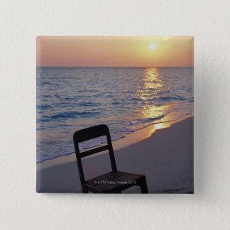日没の砂浜 5.1CM 正方形バッジ