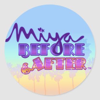 日没の空とのロゴの前の及びの後のMiya ラウンドシール