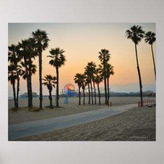 日没の米国、カリフォルニア、サンタモニカ桟橋 ポスター