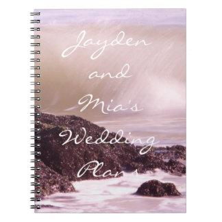 日没の結婚式の海洋波はノートを計画します ノートブック
