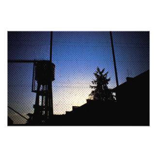 日没の給水塔 フォトプリント