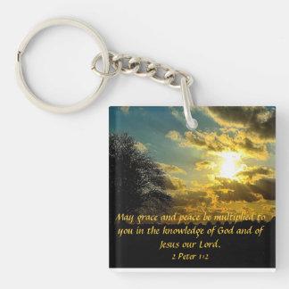 日没の聖書の詩2のピーターの1:2のキーホルダー キーホルダー