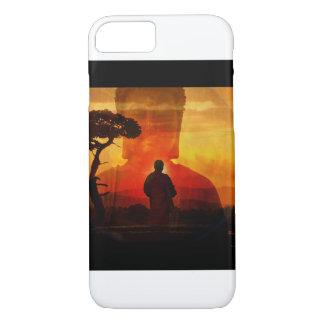 日没の背景を持つ仏 iPhone 8/7ケース