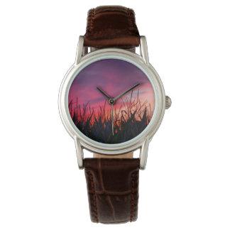 日没の腕時計のトウモロコシ畑 リストウォッチ