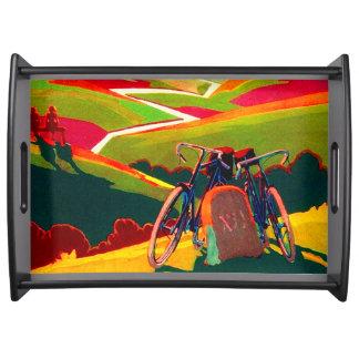日没の自転車-ヴィンテージの広告 トレー