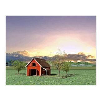 日没の赤い納屋 ポストカード