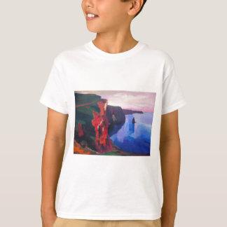 日没の郡ドクレアアイルランドのMoherの崖 Tシャツ