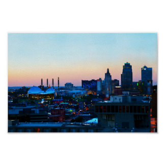 日没の都心のカンザスシティ ポスター