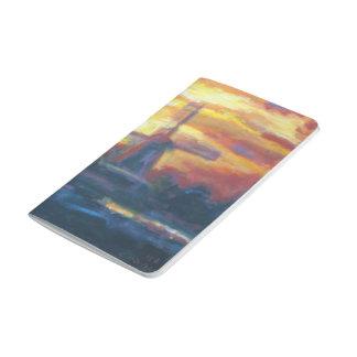 日没の風車の絵画 ポケットジャーナル