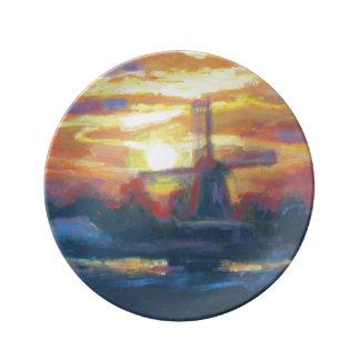 日没の風車の絵画 磁器プレート