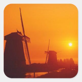 日没の風車、Schermerhornのオランダ スクエアシール