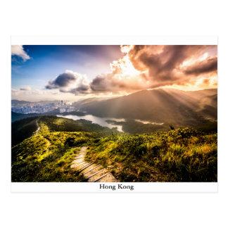 日没の香港Mountainscape ポストカード