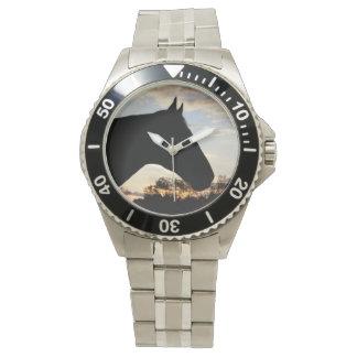 日没の馬のステンレス鋼の腕時計 腕時計
