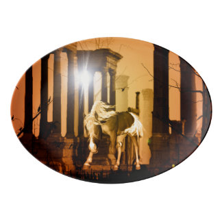 日没の馬 磁器大皿