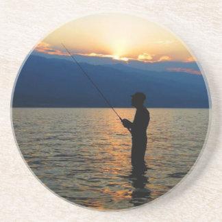 日没の魚釣り コースター