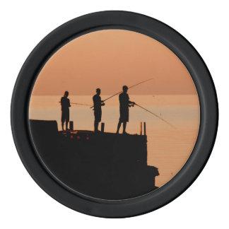 日没の魚釣り ポーカーチップ