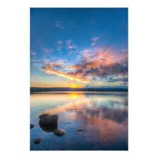 日没のoveer湖のvesijärvi フォトプリント