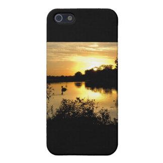 日没のswan湖のオレンジ黄色 iPhone 5 cover