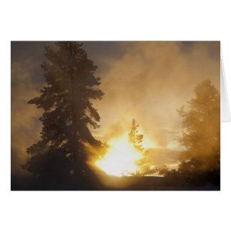 日没は革プールの上の蒸気を着色します グリーティングカード
