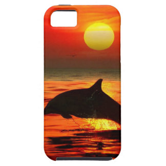 日没を跳躍させているイルカ iPhone SE/5/5s ケース