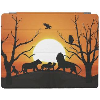 日没アフリカのライオン家族 iPadスマートカバー