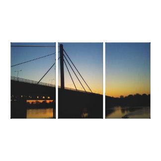 Golden Bridge on Rhein over sunset