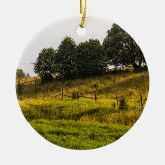 日没草原の景色の写真 セラミックオーナメント