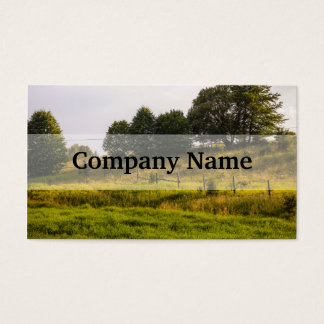日没草原の景色の写真 名刺
