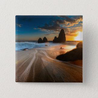 日没|の北カリフォルニアの海岸線 5.1CM 正方形バッジ
