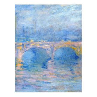 日没、クロウドM著ピンクの効果のウォータールー橋 ポストカード