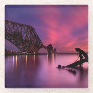 日没|スコットランドの柵橋 ガラスコースター