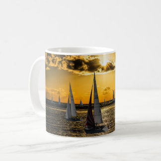 日没-ボート コーヒーマグカップ
