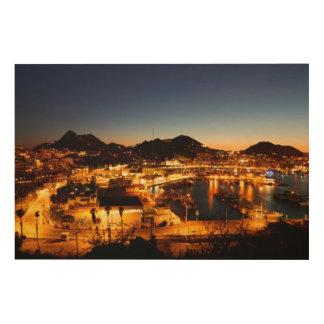 日没、メキシコのCabo San Lucasの都市景観 ウッドウォールアート