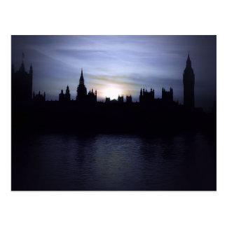 日没-ロンドン-議会-ビッグベンの郵便はがき ポストカード
