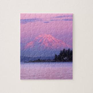 日没、ワシントン州のレーニア山 ジグソーパズル