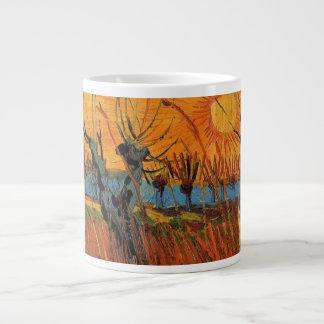 日没、ヴィンテージの印象主義のゴッホのヤナギ ジャンボコーヒーマグカップ