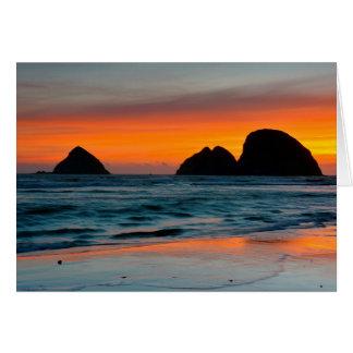 日没、海の積み重ね、オーシャンサイド、オレゴン、米国 カード